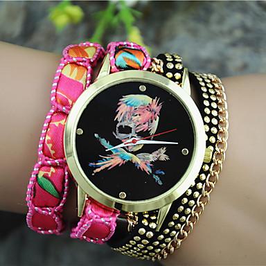 Mulheres Bracele Relógio Relógio de Moda Quartzo Relógio Casual Tecido Banda Amuleto Preta Branco Azul Laranja Roxa Rose