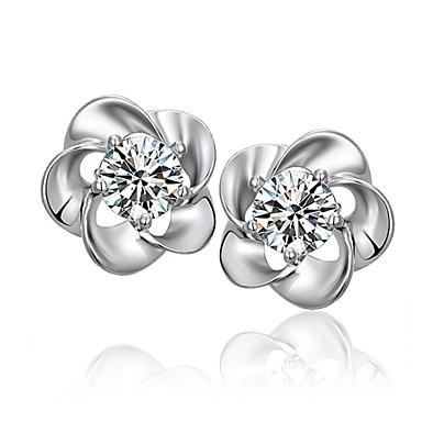 Brincos Curtos Prata de Lei Cristal Formato de Folha Branco Roxo Jóias Para Casamento Festa Diário 2pçs