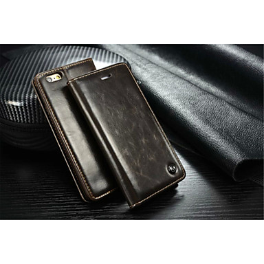 Capinha Para Apple iPhone X iPhone 8 Capinha iPhone 5 Porta-Cartão Carteira Com Suporte Flip Capa Proteção Completa Côr Sólida Rígida PU