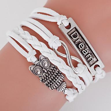 Homme Femme Cuir Chouette Bracelets - Bijoux initial Inspiration Blanc Bracelet Pour Regalos de Navidad Quotidien Décontracté
