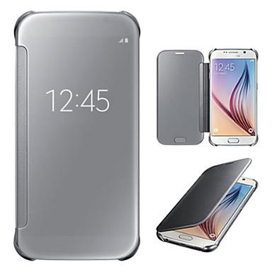 Para Samsung Galaxy S7 Edge com Visor / Espelho / Flip Capinha Corpo Inteiro Capinha Cor Única PC SamsungS7 edge / S7 / S6 edge plus / S6