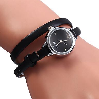 Mulheres Relógio de Moda Bracele Relógio Quartzo Relógio Casual Couro Banda Preta Branco Vermelho Marrom Verde