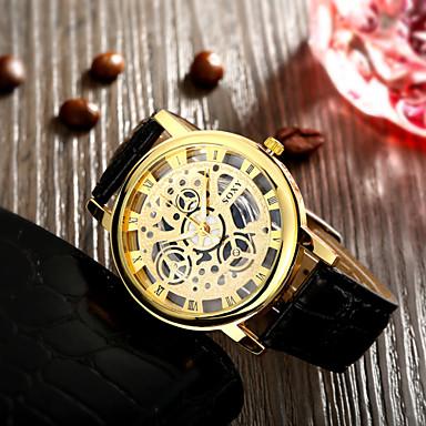 Masculino Relógio de Pulso Gravação Oca Relógio Casual Quartzo Couro Banda Preta