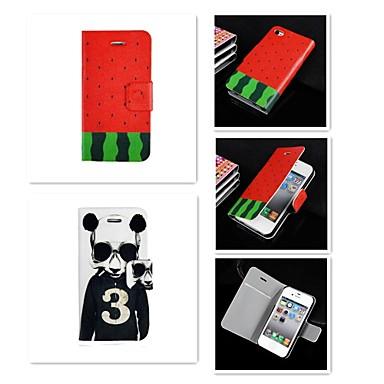 3 cartoon logo patroon pu lederen full body case voor de iPhone 4 / 4s