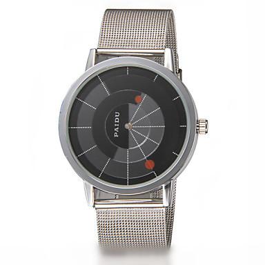 Masculino Relógio de Moda Quartzo Aço Inoxidável Banda Prata Branco Preto