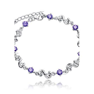 Mulheres Pulseiras em Correntes e Ligações Pulseiras com Pendentes Fashion Estilo simples Casamento Prata de Lei Cristal Jóias Jóias