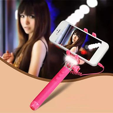 ultra mini verstelbare monopod met LED flitslicht universele mobiele telefoon houder selfie stok