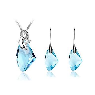 Mulheres Cristal Conjunto de jóias Brincos / Colares - Verde / Azul / Rosa claro Para Casamento / Festa / Aniversário