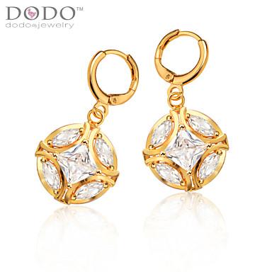 Feminino Brincos Compridos Cristal Pedras dos signos Chapeado Dourado Bola Jóias Casamento Festa Diário Casual