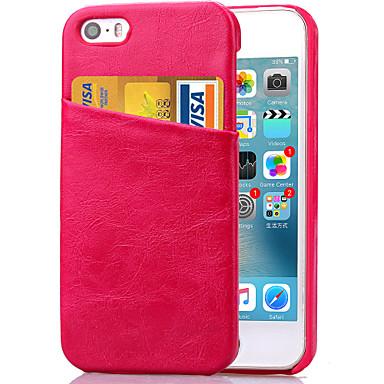 Voor iPhone 5 hoesje Kaarthouder / met standaard hoesje Achterkantje hoesje Effen kleur Hard PU-leer iPhone SE/5s/5