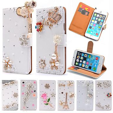 luxe staan flip litchi leer diamant strik bloem portemonnee case voor Apple iPhone 6 plus / 6s plus handgemaakte hoes