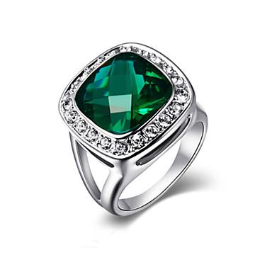 Dames Statement Ring Kristal Synthetische Smaragd Modieus Legering Kostuum juwelen Feest