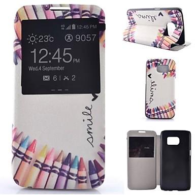 hoesje Voor Samsung Galaxy Samsung Galaxy S7 Edge met standaard met venster Flip Volledige behuizing Cartoon PU-leer voor S7 plus S7 edge
