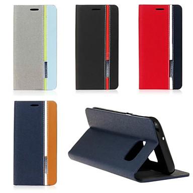 Para Samsung Galaxy S7 Edge Com Suporte / Flip Capinha Corpo Inteiro Capinha Linhas / Ondas Couro PU SamsungS7 edge / S7 / S6 edge plus /