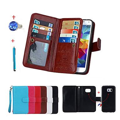 Para Carteira / Porta-Cartão / Com Suporte / Flip / Magnética Capinha Corpo Inteiro Capinha Cor Única Rígida Couro PU Samsung S6