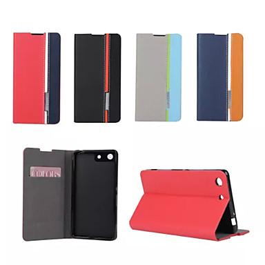retro moda em couro deluxe aleta caso estande carteira para Sony Xperia m5