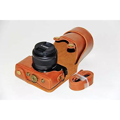dengpin® pu bolsa de câmera caso couro cobrir com alça de ombro para Canon EOS m10 15-45 lente (cores sortidas)