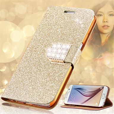 voordelige Galaxy Note 5 Hoesjes / covers-hoesje Voor Samsung Galaxy Note 5 / Note 4 / Note 3 Kaarthouder / Strass / met standaard Volledig hoesje Glitterglans Hard PU-nahka