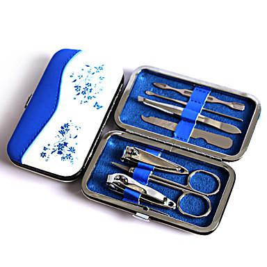 Moda conjunto de ferramentas de arte de porcelana de porcelana azul e branco, conjunto de manicure de viagem de pinça de nogueira