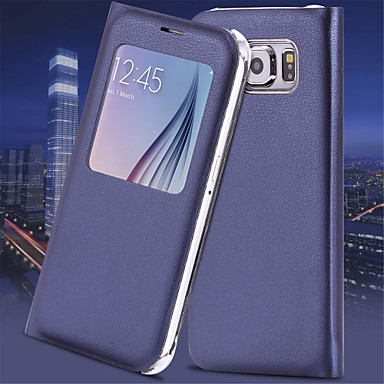 SHI CHENG DA Case For Samsung Galaxy Samsung Galaxy S7 Edge with Windows / Auto Sleep / Wake / Flip Full Body Cases Solid Colored PU Leather for S7 edge / S7 / S6 edge plus