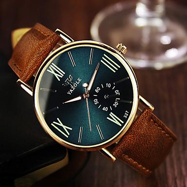 levne Pánské-Pánské Náramkové hodinky Křemenný Kůže Hnědá 30 m Analogové Klasické - Černá Námořnická modř / Nerez