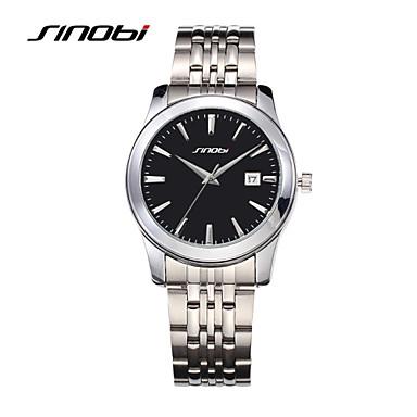 SINOBI Masculino Relógio de Pulso Quartzo Calendário Impermeável Relógio Esportivo Lega Banda Prata Prata