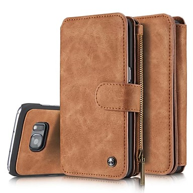 Case For Samsung Galaxy Samsung Galaxy S7 Edge Card Holder Wallet Flip Full Body Cases Solid Color Hard Genuine Leather for S8 S8 Edge S7