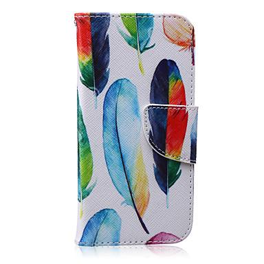 coloridas penas padrão caso pu material de couro de telefone para iphone 5 / 5s / 5e / 6 / 6s / 6plus / 6splus