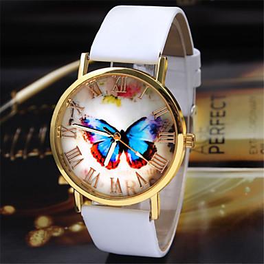Dames Modieus horloge Kwarts PU Band Vlinder Zwart Wit Bruin Wit Zwart Koffie