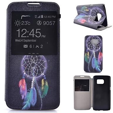 Capinha Para Samsung Galaxy Samsung Galaxy S7 Edge Com Suporte com Visor Flip Corpo Inteiro Apanhador de Sonhos Couro Ecológico para S7