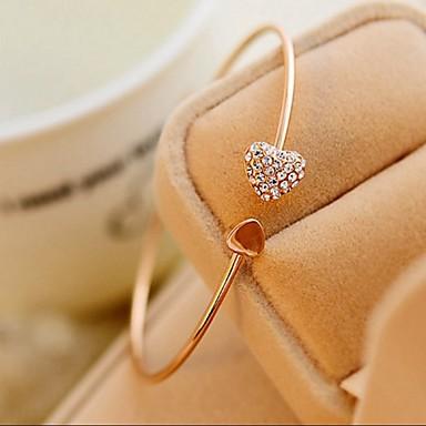 Femme Bracelets Rigides Manchettes Bracelets Cœur Le style mignon Mode Ajustable Style Simple Strass Cœur Bijoux Mariage Soirée Cadeau