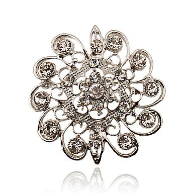 Mulheres - Strass, Prata Chapeada, Imitações de Diamante Luxo, Europeu, Estilo simples Broche Para Festa / Diário / Casual