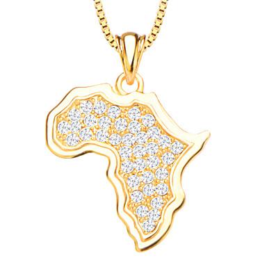 afrika kaart kristallen hanger sieraden 18k vergulde witte gesimuleerde diamanten hangers voor vrouwen / mannen p30135