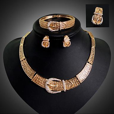 Mulheres Strass 18k Ouro Imitações de Diamante Conjunto de jóias Bracelete Brincos Colares Anél - Luxo Fofo Festa Fashion Rígida Corrente