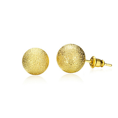 Brincos Curtos Liga Formato Circular Forma Geométrica Dourado Jóias Para Diário 1 par