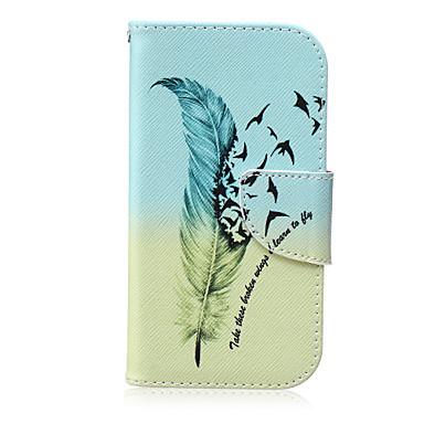 Para Samsung Galaxy Capinhas Carteira / Porta-Cartão / Com Suporte / Flip Capinha Corpo Inteiro Capinha Pena Couro PU SamsungS6 edge plus