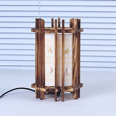 창조적 인 우드 조개 아이를위한 램프 용기 장식 책상 램프 침실 램프 선물 원통형