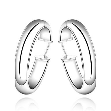 Mulheres Brincos Curtos Brincos em Argola Fashion Cobre Prata Chapeada Formato Circular Forma Geométrica Jóias Prata Casamento Festa