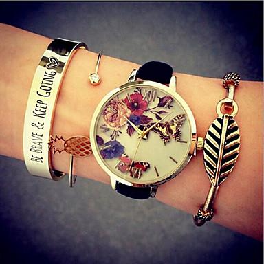 여성용 패션 시계 팔찌 시계 석영 방수 PU 밴드 나비 블랙 화이트 그린 핑크