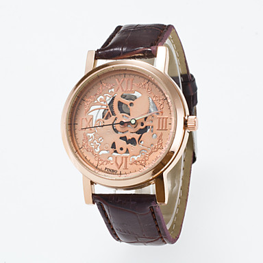 남성용 스켈레톤 시계 손목 시계 석영 / PU 밴드 캐쥬얼 블랙 브라운