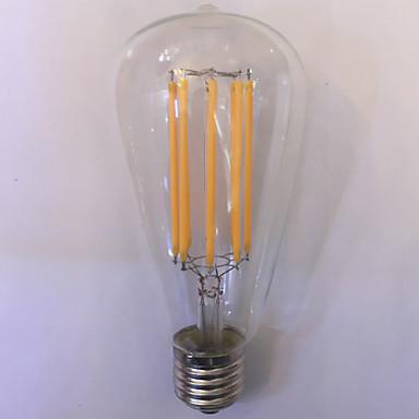 1 pç kwb E26/E27 10W 8 COB 1000 lm Branco Quente / Âmbar ST64 edison Vintage Lâmpadas de Filamento de LED AC 85-265 V