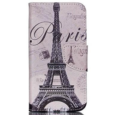 Capinha Para Wiko Capinhas Wiko Porta-Cartão Com Suporte Flip Estampada Corpo Inteiro Torre Eiffel Rígida Couro Ecológico para