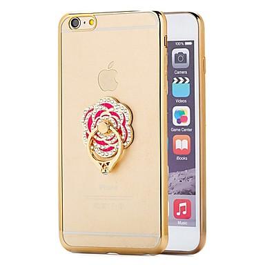 Case Kompatibilitás iPhone 6 iPhone 6 Plus Galvanizálás Tartó gyűrű Hátlap Tömör szín Puha TPU mert iPhone 6s Plus iPhone 6 Plus iPhone