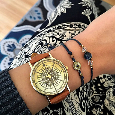 Mulheres Relógio de Moda Bracele Relógio Simulado Diamante Relógio Quartzo imitação de diamante PU Banda Preta Branco Marrom Verde Cáqui