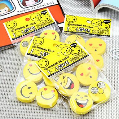 5db mosolygó arc gumi kreatív kifejezés gumi aranyos rajzfilm gumi (stílus véletlenszerű)