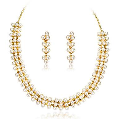 Női Rose Gold Gyöngy Ékszer szett tartalmaz Naušnice Nyakláncok - Party Munkahelyi Rose Gold Gyöngy Ékszer készlet Kompatibilitás Parti