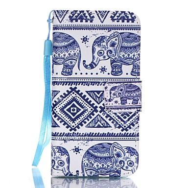 부족 스타일 코끼리 패턴 - 아이폰 / 5 / 5 초를 SE 용 우레탄 지갑 가죽 끈 및 카드 슬롯 케이스 스탠드