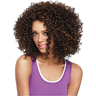 Συνθετικές Περούκες Σγουρά Πυκνότητα Χωρίς κάλυμμα Γυναικεία Μεσαίο Συνθετικά μαλλιά