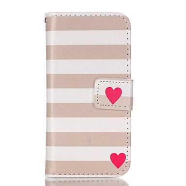 hoesje Voor iPhone 5 hoesje Portemonnee Kaarthouder met standaard Flip Patroon Volledige behuizing Lijnen / golven Hard PU-leer voor