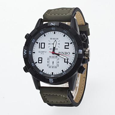 남성용 손목 시계 석영 / PU 밴드 캐쥬얼 블랙 블루 브라운 그린 퍼플 카키